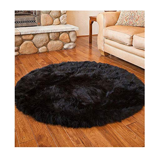 Elhouse Round Mat Home Decor Faux Fur Sheepskin Rugs Kids Carpet Nursery Bedroom Fluffy Rug Shaggy Area Rug, Diameter 6ft Black