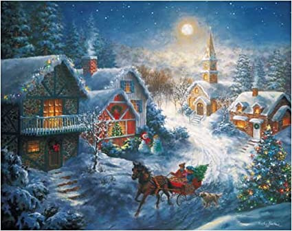 Amazoncom In A One Horse Open Sleigh Jigsaw Puzzle Toys Games