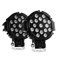 "Nilight Led Light Bar 2PCS 7"" 51w 5100LM Black Round Flood Light Pod Off Road Fog Driving Roof Bar Bumper for Jeep,SUV Truck , Hunters, 2 years Warranty"