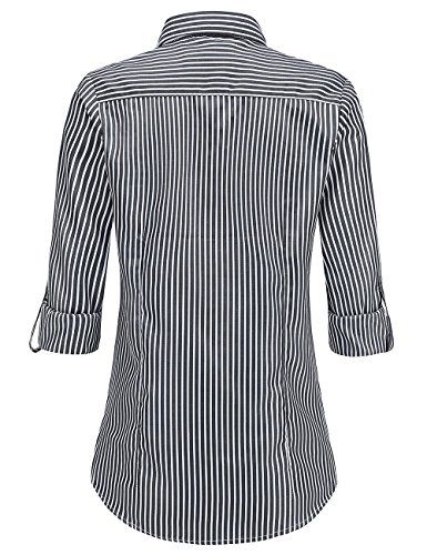 Hauts Shirt Noir Boutons Manches Blouse Chemise Rayure Femme V Dioufond Casual Tops Col Longues q7RXfww