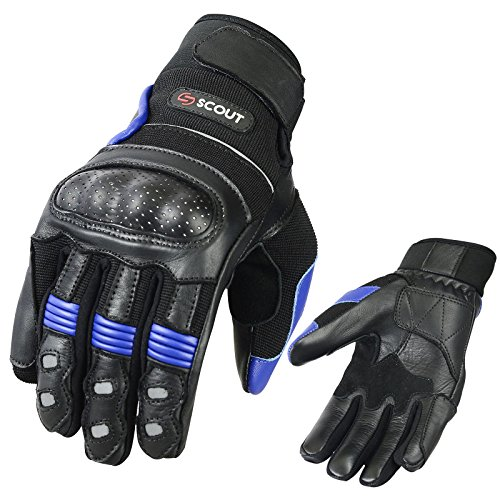 ScoutPerformanceGear Brand New Motorbike Gloves Street Riders Leather Armor Knuckle Shell Protection Motorcycle Racing Gloves (Large(8.6-9.2))