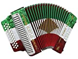 D'Luca Toro Button Accordion 31 12 Bass on GCF Key with Case and Straps, Red, White, Green (D3112T-GCF-MX