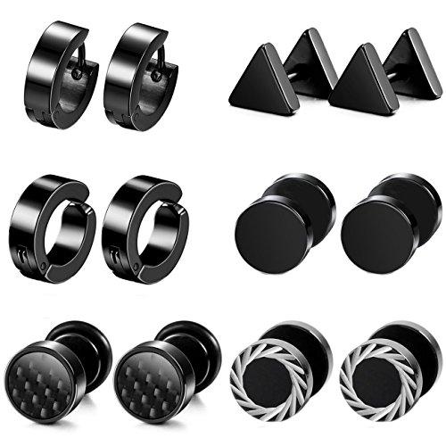 MOWOM 6 Pairs Black Stainless Steel Stud Hoop Huggie Earrings Tapers Plugs Tunnel