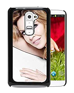 Beautiful Designed Cover Case With Kylie Minogue Girl Smile Dress Hand For LG G2 Phone Case
