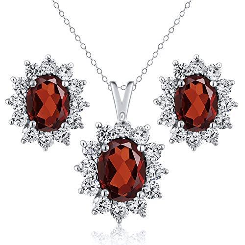 Gem Stone King 2.80 Ct Oval Red Garnet 925 Sterling Silver Pendant Earrings Set