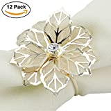 Elinq Set of 12 Hollow Out Flower Napkin Ring Handmade Serviette Buckle Holder For Wedding, Party, Dinner