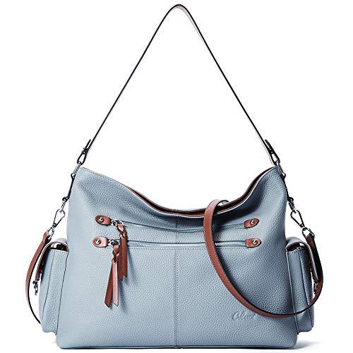 Purses and Handbags for Women Designer Genuine Leather Hobo Tote Large Ladies Shoulder Bag Blue