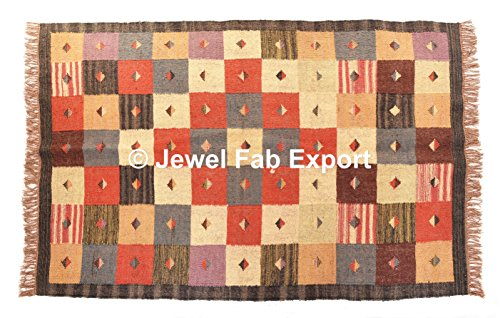 Jewel Fab Art Indian Jute Rug Indian Vintage Rug Floor Mat Handloom Woven Kilim Carpet Handmade Natural Jute Dari Pray Mat,Jute Work Carpet 70% Jute &30% Wool ()