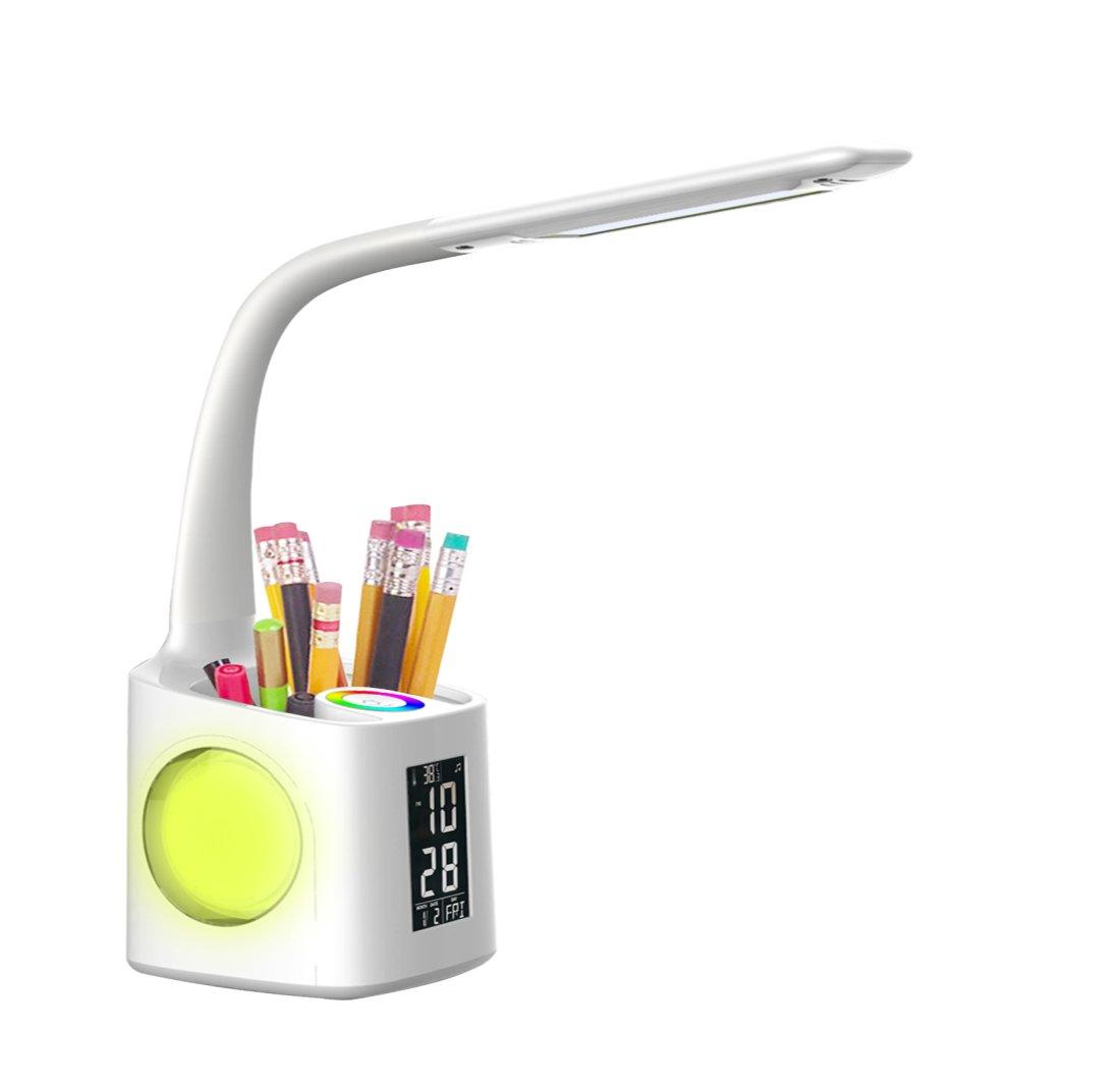 MANRUNDE study led desk lamp with usb charging port&screen&calendar&color night light, kids dimmable led table lamp with pen holder&alarm clock, desk reading light for students