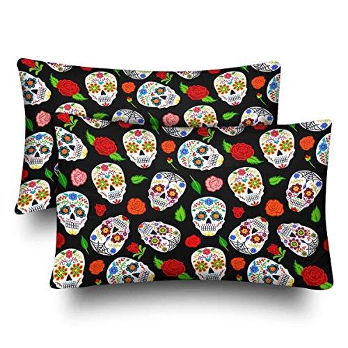 SPXUBZ Mexican Dia Los Muertos Seamless Pattern Sugar Skulls Roses Home Decor Gift Rectangular Indoor Cotton Pillowcase (Two -