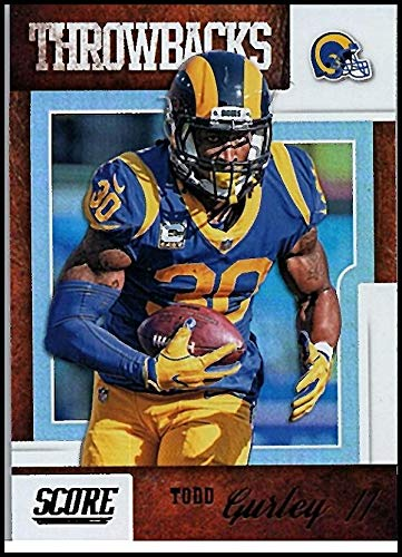 (2019 Score Throwbacks Football #9 Todd Gurley II Los Angeles Rams Official NFL Trading Card from Panini)