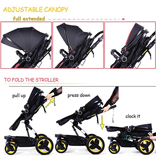Baby stroller travel system folding pram pushchair infant toddler carriage high landscape (blue) by Cynebaby (Image #9)