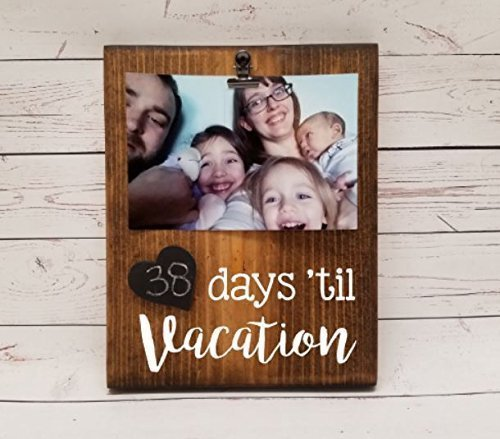Vacation Countdown Tracker, reusable chalkboard calendar for trip or event, photo clip for holding a picture optional, days until, weeks until florida disney (Disney Halloween Countdown Calendar)