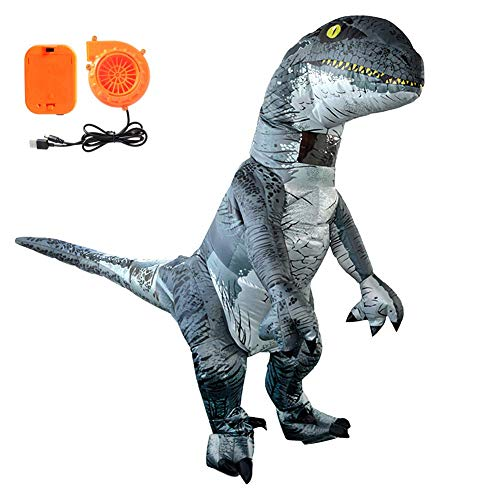 TiiMi Party Adults Velociraptor Costume Dinosaur Shape Inflatable Costume Halloween Horror Party Outfit Suit for Adults