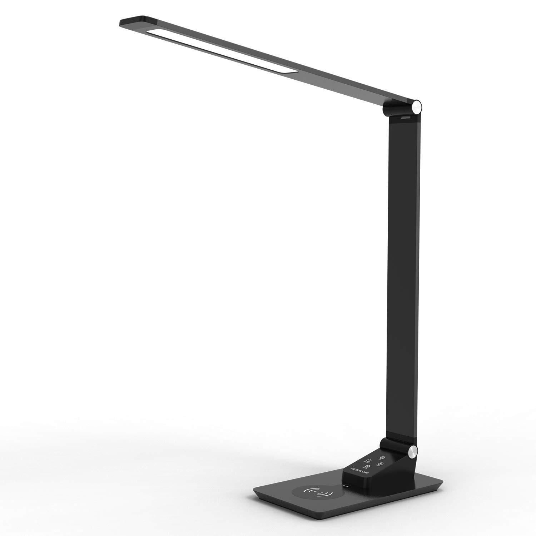 L/ámpara LED de escritorio de Carga Inal/ámbrica de YOUKOYI L/ámpara de Metal con Estilo,Luz de Oficina RegulablPuerto de Carga USB para Oficina Habitaci/ón o Dormitorio 12W Negro