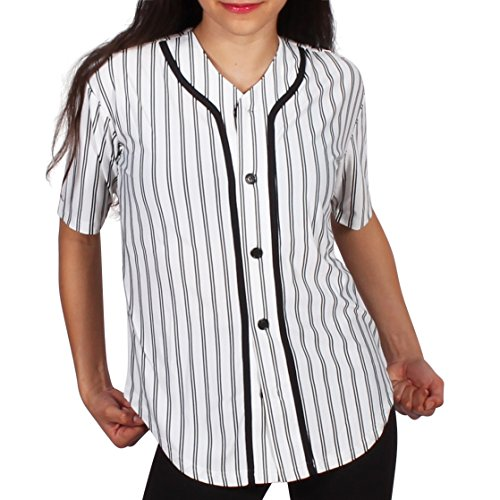 Gia Mia Women's Pin Stripe Hip Hop Dance Button Down Costume Recital Performance Baseball Jersey Medium White