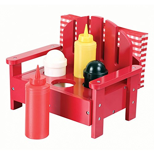 5-piece Adirondack Chair Condiment Set for Ketchup, Mustard, Salt and Pepper in Red (Ketchup And Mustard Costume)