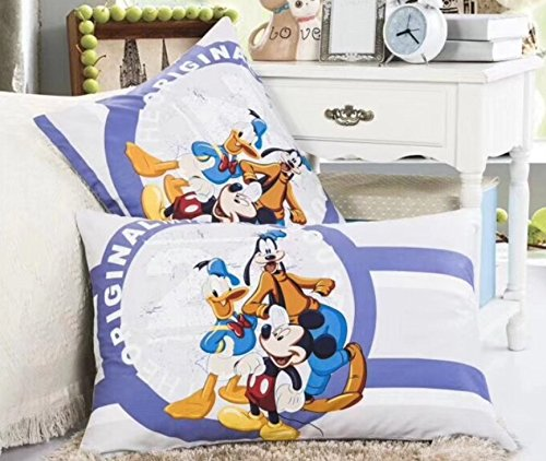 Disney Duck Sheets - Ln 2 Piece Kids Cute White Blue Disney Themed Pillowcases Set, Mickey Mouse Pillow Cases Goofy Donald Duck Micky Adorable Childrens Classic Characters Favorites Yellow Orange Black, Cotton