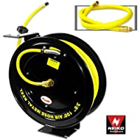 "Neiko 40276A Retractable Metal Air Hose Reel | Auto Rewind | Multi Mounting Arm | 3/8"" x 100'"