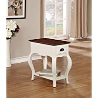 ACME Furniture 80516 Woaton Side Table, Antique White & Dark Oak