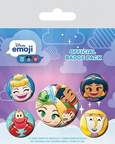 1art1 Princesas Disney - Emoji, 1 X 38mm & 4 X 25mm Chapas Set De ...