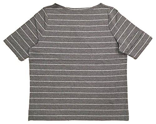 - Lauren Ralph Lauren Plus Size Boatneck Stretch Cotton Tee Top (2X, Grey Striped)