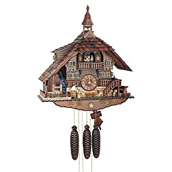 8-Day Wooden Bell Tower Cuckoo Clock in Antique Finish