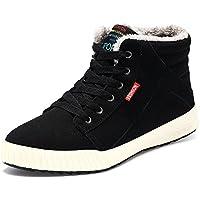 Vilocy Botas de nieve de los hombres Suede Cálido Piel Fur Lined Lace Up tobillo Zapatillas Deportivas High parte superior Zapatos