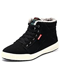 Do.BOMRVII Men's Winter Fur Lining Ankle Warm Lace Up Nubuck Leather Snow Boots Sneaker
