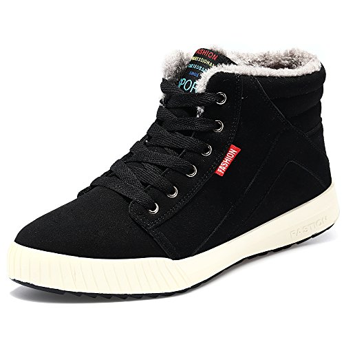 VILOCY Men's Warm Suede Leather Snow Boot Fur Lined Lace Up Ankle Sneakers High Top Shoes (9, Black)