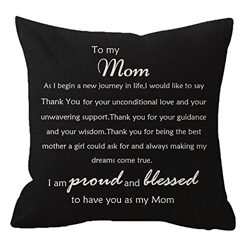 (NIDITW Nice Mothers Gift with Inspirational Quote Sayings Mom Thank You Body Lumbar Black Cotton Linen Throw Pillow Case Cushion Cover Chair Sofa Decorative Square 18 inches (Black))