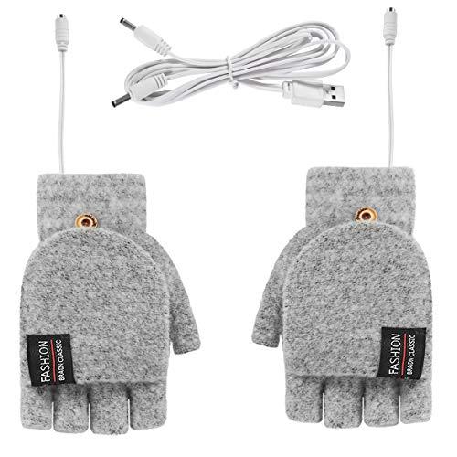 Rehomy USB verwarmde handschoenen handschoen voor mannen en vrouwen, winter warme gebreide volledige & halve vinger…