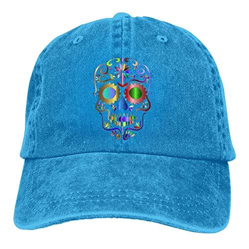 Lkbihl Prismatic Sugar Skull Logo Unisex Adult Cap Adjustable Cowboys Hats Baseball Cap Fun Casquette Cap Blue