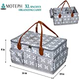 """Baby Diaper Caddy Organizer with Zip-Top Cover by Moteph - Extra Large (16""""L×10""""W×8""""H) Storage Nursery Bin for Baby Essentials & Toys - Perfect Baby Shower Gift"""