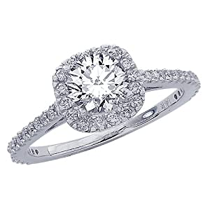 0.8 Carat 14K White Gold Gorgeous Classic Cushion Halo Style Diamond Engagement Ring with a 0.45 Carat J K I2 Center