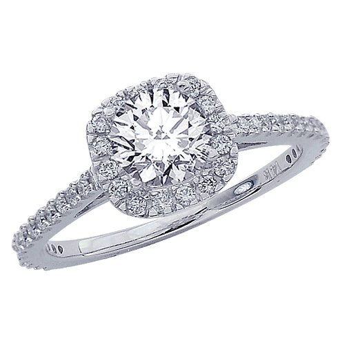 0.85 Carat Gorgeous Classic Cushion Halo Style Diamond Engagement Ring in White Gold with a 0.5 Carat H-I I1 Center Image