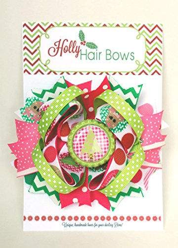 My lil Zoo Holly Hair Bows- Boutique and Beautiful Christmas Bows for Girls (Oh Christmas Tree)
