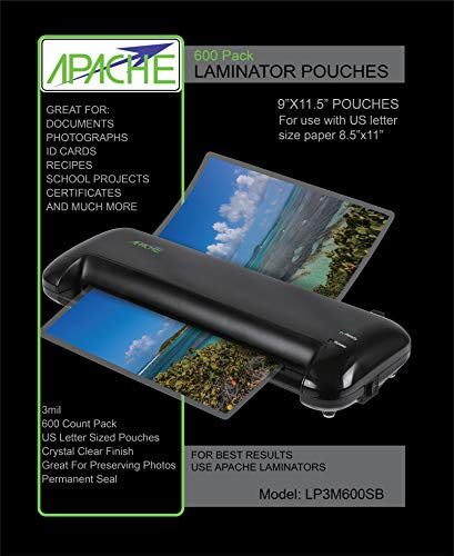 - Apache Laminating Pouches, Letter Size, 600 Pack, 3 mil