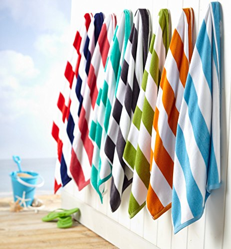 2-Pack 100% Cotton Cabana Stripe Velour Beach Towel (30x60). By Great Bay Home Brand. (Teal) (Adult Beach Towels)