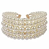 NA KOSMOS-LI 5 Layer Ivory Imitate Pearl Choker Necklace