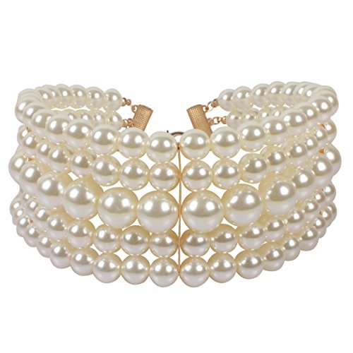 KOSMOS-LI Multi Layer Faux Ivory Pearl Chokers - Pearl Double Necklace Strand Faux