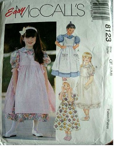 - CHILDRENS AND GIRLS DRESS AND PINAFORE SIZE 4-5-6 EASY MCCALLS PATTERN 8123