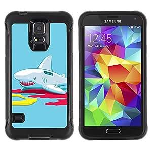 ZAKO Cases / Samsung Galaxy S5 SM-G900 / Funny Inflatable Shark Illustration / Robusto Prueba de choques Caso Billetera cubierta Shell Armor Funda Case Cover Slim Armor