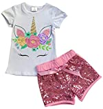 Big Girls' 2 Pieces Short Set Unicorn Floral Tops Glitter Shorts Outfit White 6 XL (P201453P)