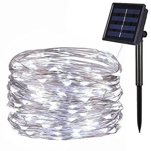 Solar Powered String Lights, 39ft 100LED Outdoor String Lights, Indoor/Outdoor 8 Modes Copper Wire Lights Waterproof Solar Decoration Lights for Gardens, Home, Dancing, Party Decorative (39' Combination Kitchen)