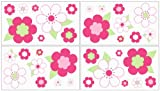 Flower Pink and Green Wall Decal Stickers by Sweet Jojo Designs – Set of 4 Sheets, Baby & Kids Zone