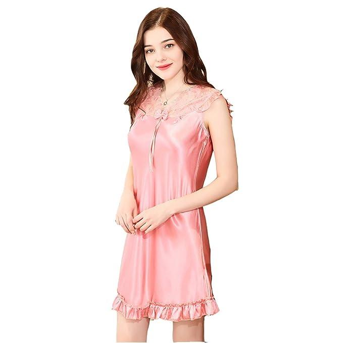 DSJJ Pijama Mujer Verano Mujer Camisón Pijama Satén Ropa de Dormir Sexy Mujer