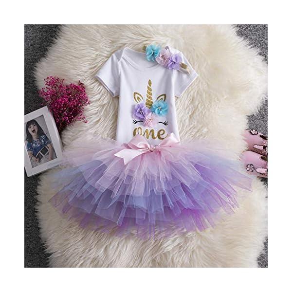 TTYAOVO Neonata 1 ° Compleanno 3pcs Insiemi con Unicorn Fascia e Pagliaccetto & Gonne 3