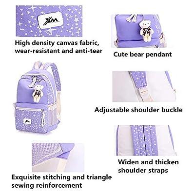 Fanci 3Pcs Stars Prints Canvas Elementary School Rucksack Backpack Set for Girls Women Casual Daypack | Kids' Backpacks