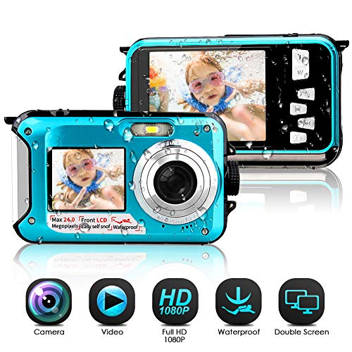 Waterproof Camera Full HD 1080P Underwater Camera 24 MP Video Recorder Selfie Dual Screen DV Recording Waterproof Digital Camera for Snorkeling (Best Small Digital Camera Under 200)
